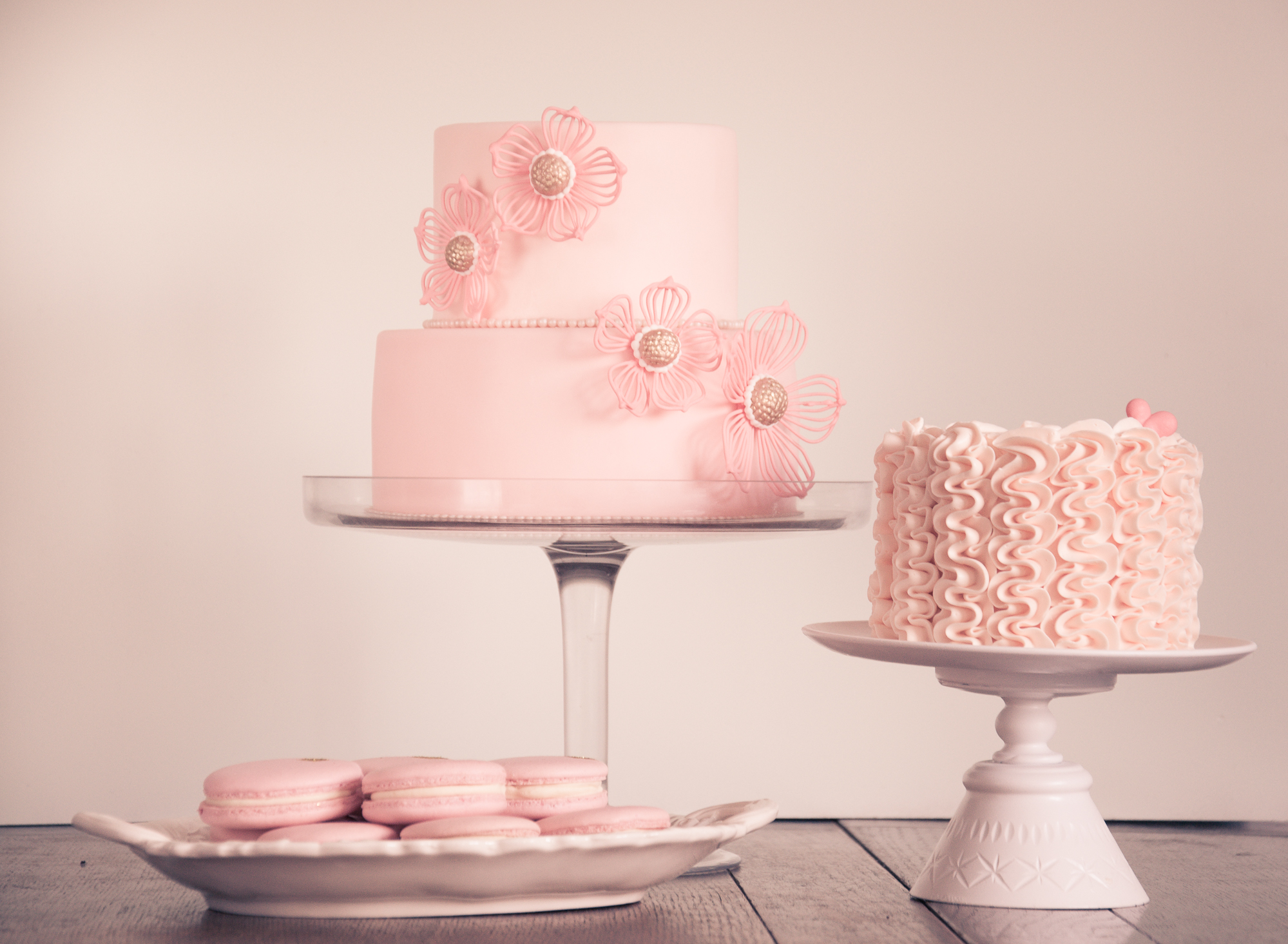 Pink fondant cake and buttercream smash cake