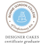 I graduated from the Designer Cakes Certificate Programme at Bonnie Gordon College of Confectionary Arts