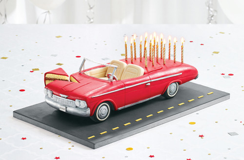 Carved convertible car cake for Set for Life Ads.