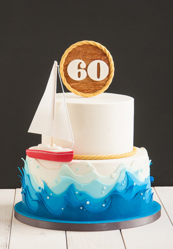 Sail boat cake with 60 topper