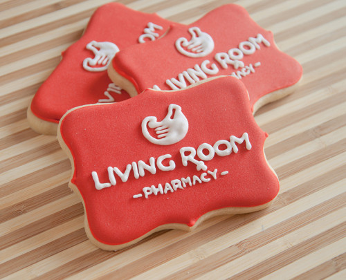 Client Appreciation cookies with the Living Room Pharmacy logo
