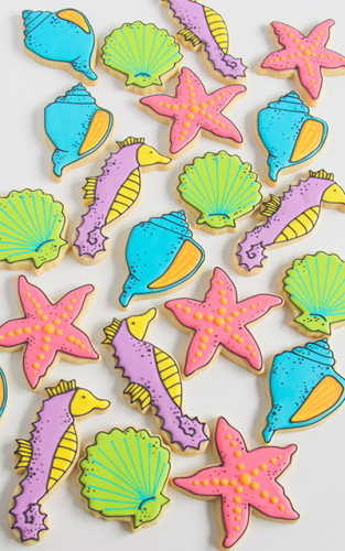 Black outlined ocean themed cookies