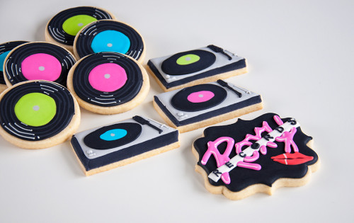 Decorated sugar cookies, records, record players and roxy records logo