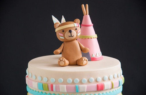 Baby shower cake topper, little native bear and teepee