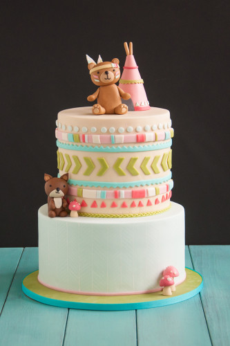 woodland native baby shower cake
