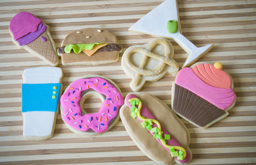 Fun bright food decorated cookies