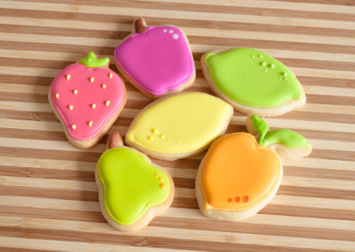 Brightly coloured fruit cookies