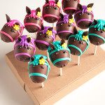 Pink purple and teal horse head cake pops
