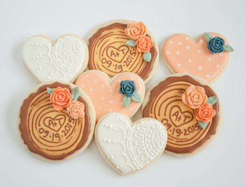 Decorated sugar cookies for rustic wedding