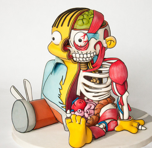 3D cutout Ralph Wiggum cake for threadcakes