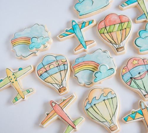 Hot Air balloons, Airplane, clouds and rainbow decorated sugar cookies