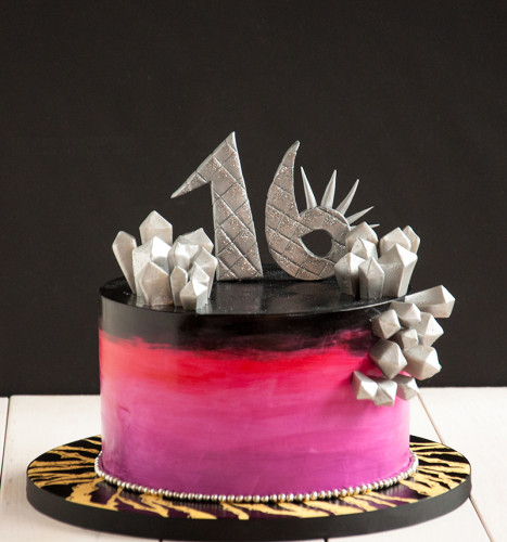 Silver and spikes on this lady gaga esc sweet 16 birthday cake