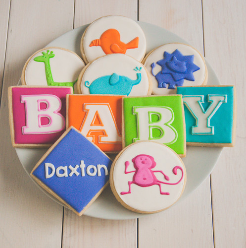 Baby shower cookies with Jungle animals