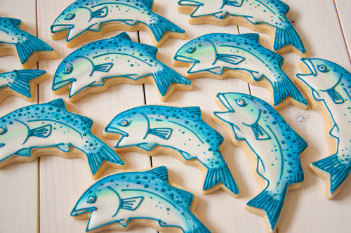West coast salmon decorated sugar cookies