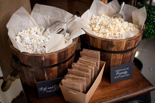 Served in barrels, gourmet flavoured popcorn