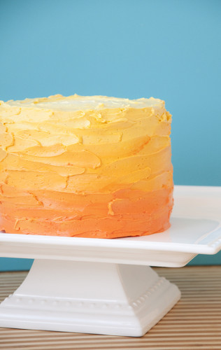 Orange to yellow rustic buttercream finish smash cake