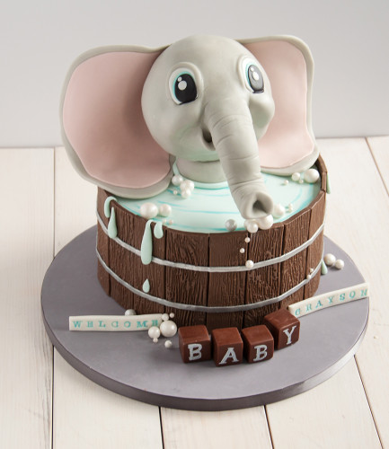 Baby boy shower cake. Elephant in bathtub