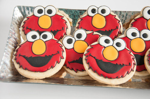 Decorated sugar cookie with royal icing, Elmo!