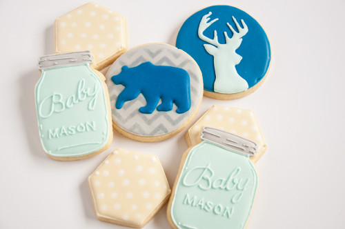 Baby boy shower cookies.