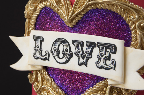 Closeup of LOVE banner hand painted
