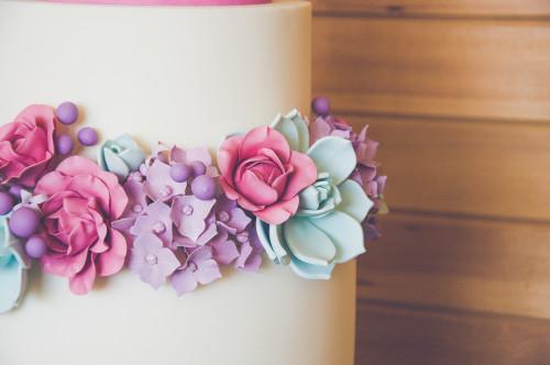 Gumpaste rose, hydrangea, and succulent on white wedding cake