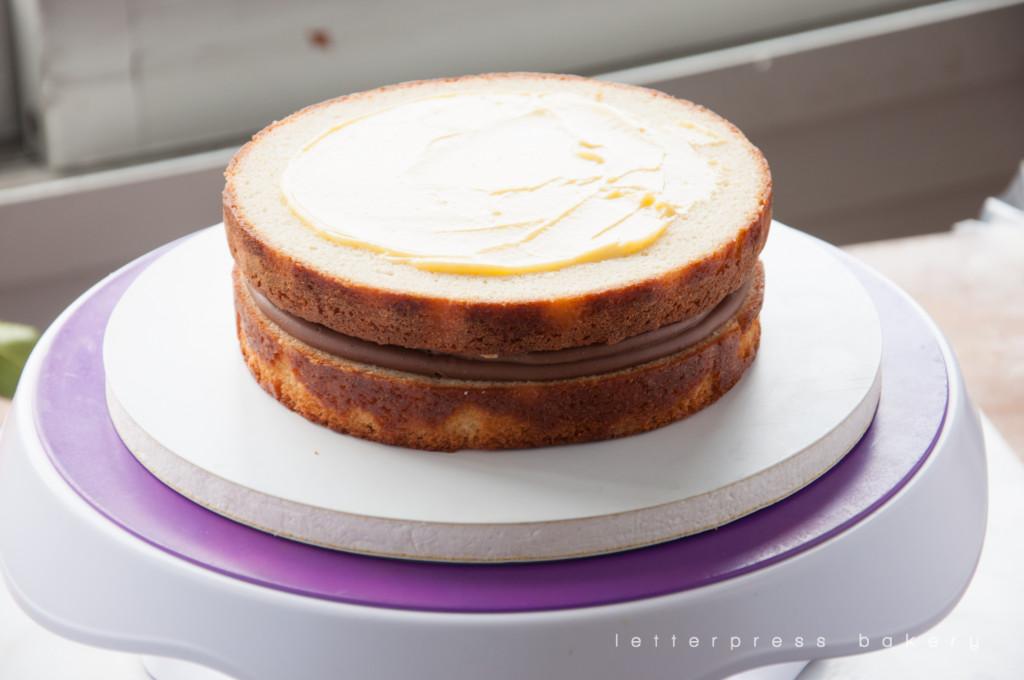 Second layer of Tattooine Tangerine Cake