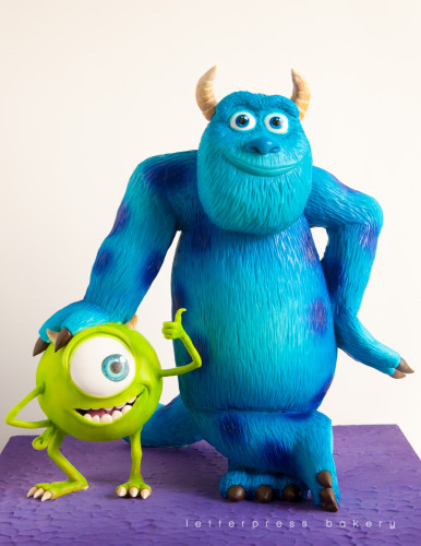 Sulley and Mike Wizowski from Monsters inc. in 3D cake form