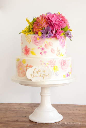 Water painted flowers and colourful fresh floral topper