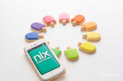 Nix Sensor Pro decorated Iphone cookie and coloured popsicles