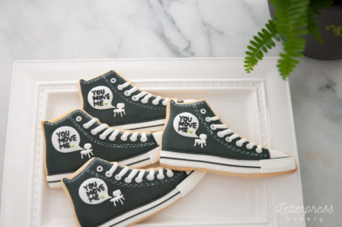 Black and white branded converse shoe cookies - You Move Me