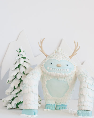 Sculpted 3D carved yeti cake - myths and legends snow