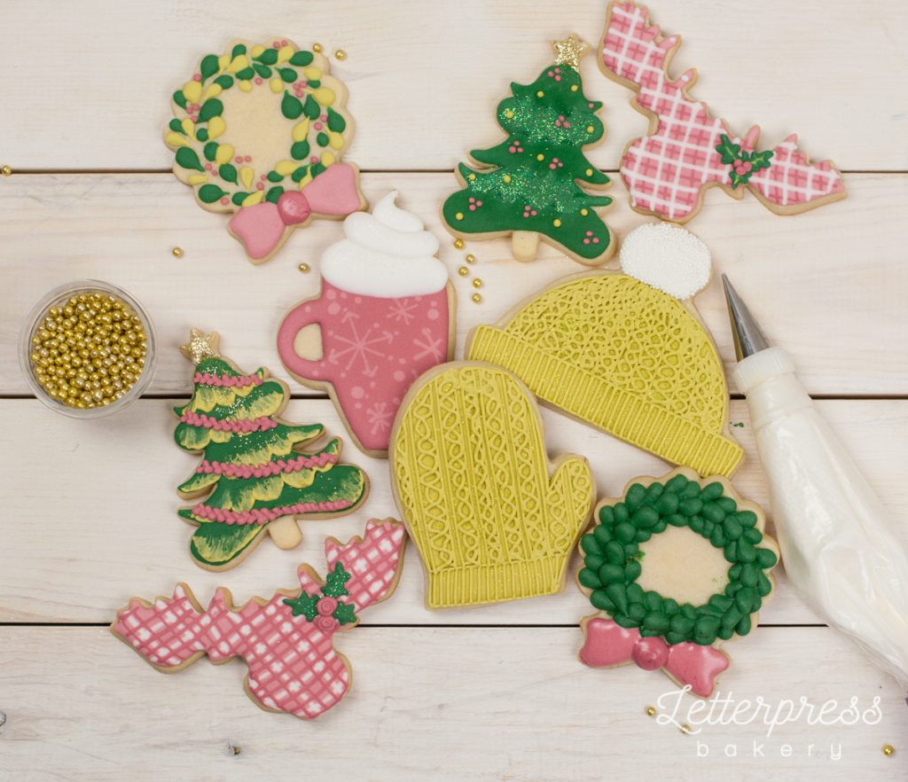Pretty christmas cookie decorating workshop with Letterpress Bakery